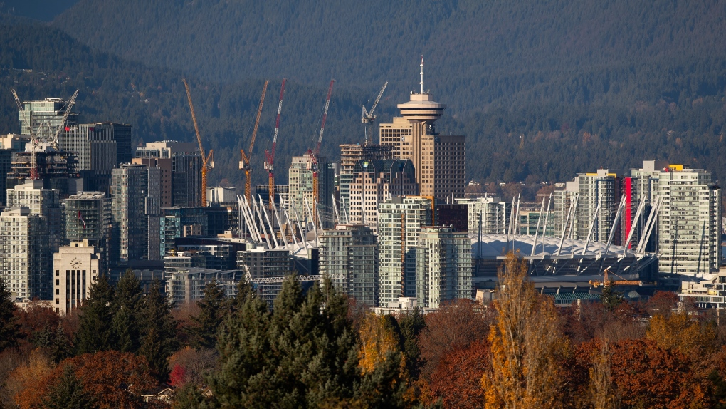 The downtown skyline including BC Place stadium, condo towers and numerous construction cranes is seen from Queen Elizabeth Park in Vancouver on Sunday, Nov. 8, 2020. (Darryl Dyck / THE CANADIAN PRESS)