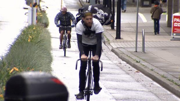 Separated bike lane Vancouver