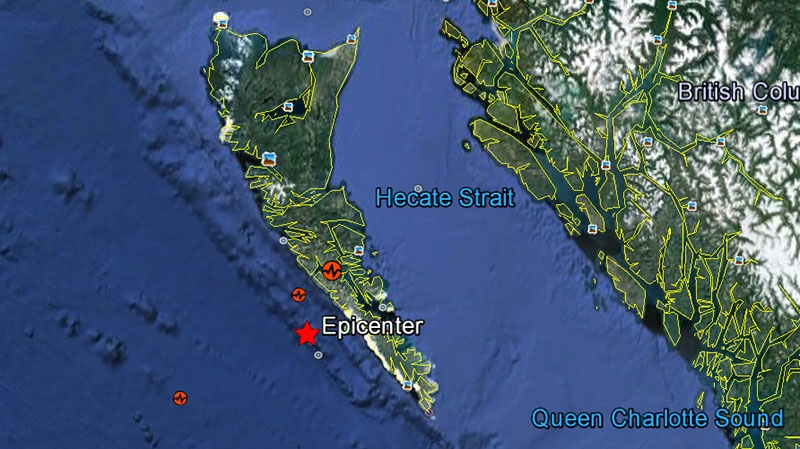 The epicenter of the earthquake that hit the Haida Gwaii region of B.C. is shown in this image taken from Google Earth on Saturday, Oct. 27, 2012.
