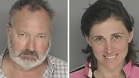 A booking photo of Hollywood actor Randy Quaid and his wife Evi after a $50,000 warrant was issued for each of them on felony burglary charges in Santa Barbara, California.  (TMZ.com)
