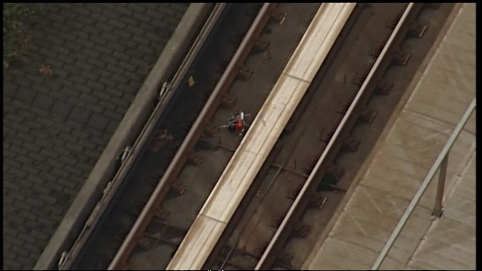 Authorities are investigating a suspicious, and potentially explosive package that was found on the SkyTrain tracks in Surrey Friday afternoon. (CTV/Chopper9)