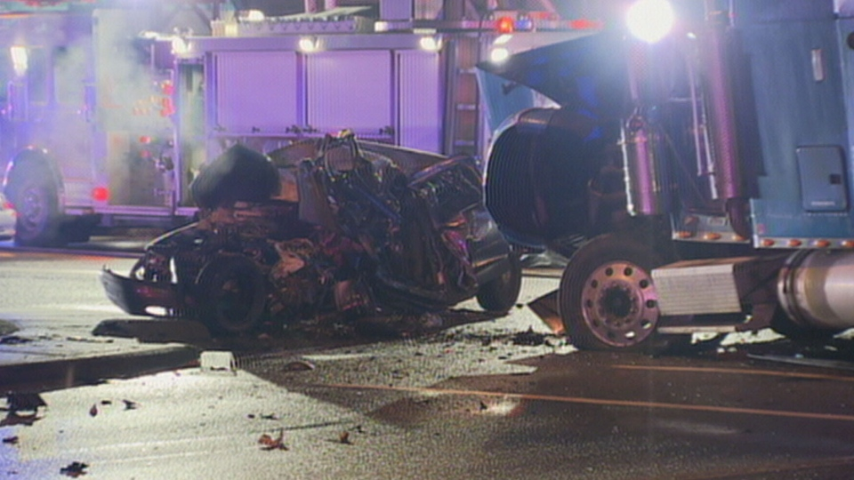 A police officer was killed in a crash with a semi truck in Surrey on Nov. 13, 2012. (CTV)