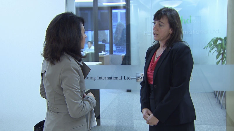 Former B.C. deputy resource minister Jody Shimkus, right, speaks to CTV News about allegations that she breached government policy by taking a job at HD Mining International. Nov. 13, 2012.