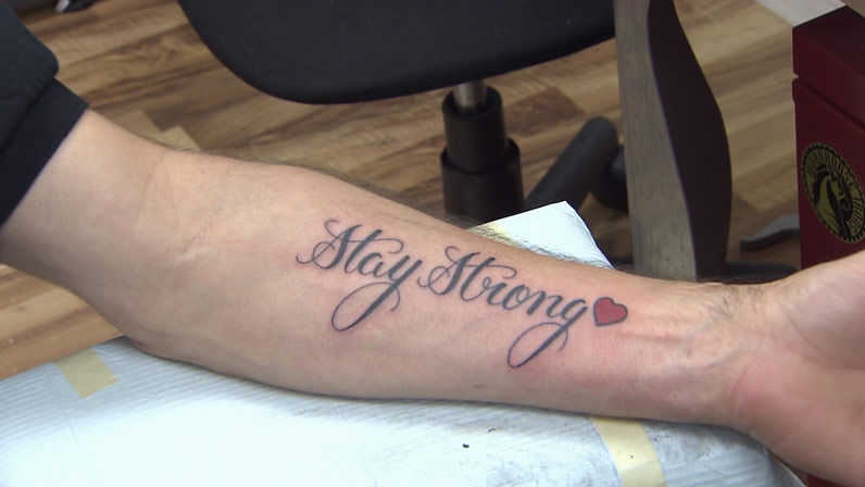 Amanda Todd's father Norman Todd remembers her with a tattoo. November 17, 2012. (CTV)
