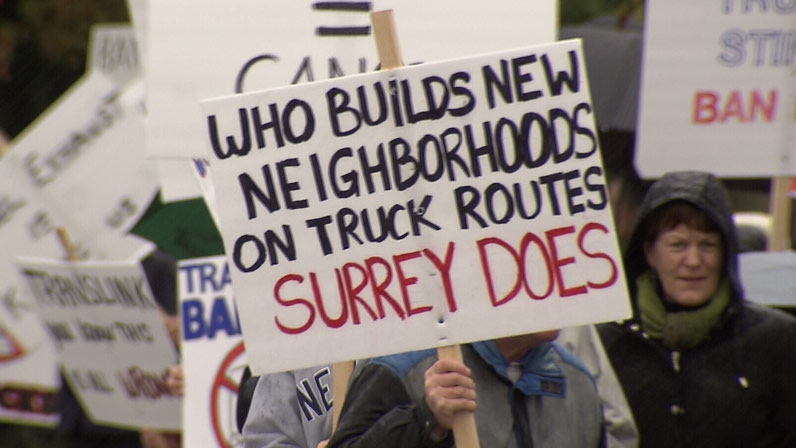 Surrey residents are raising a stink about diesel trucks in their neighbourhood. November 17, 2012. (CTV)