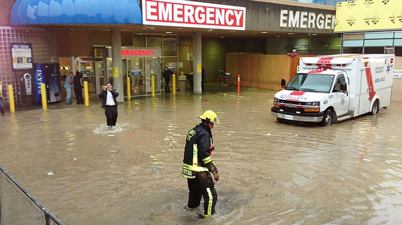 Crews deal with a flood at the Surrey Memorial Hospital ER on Monday. (Evan Seal/Surrey Leader)
