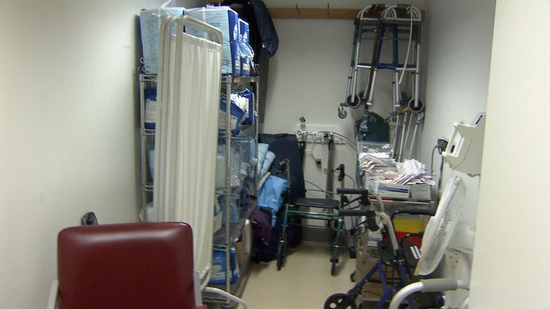 A lack of space has forced doctors to conduct patient interviews in a supply closet at St. Paul's Hospital. Nov. 20, 2012. (CTV)