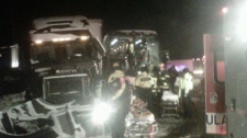 Bus and semi crash on Coquihalla