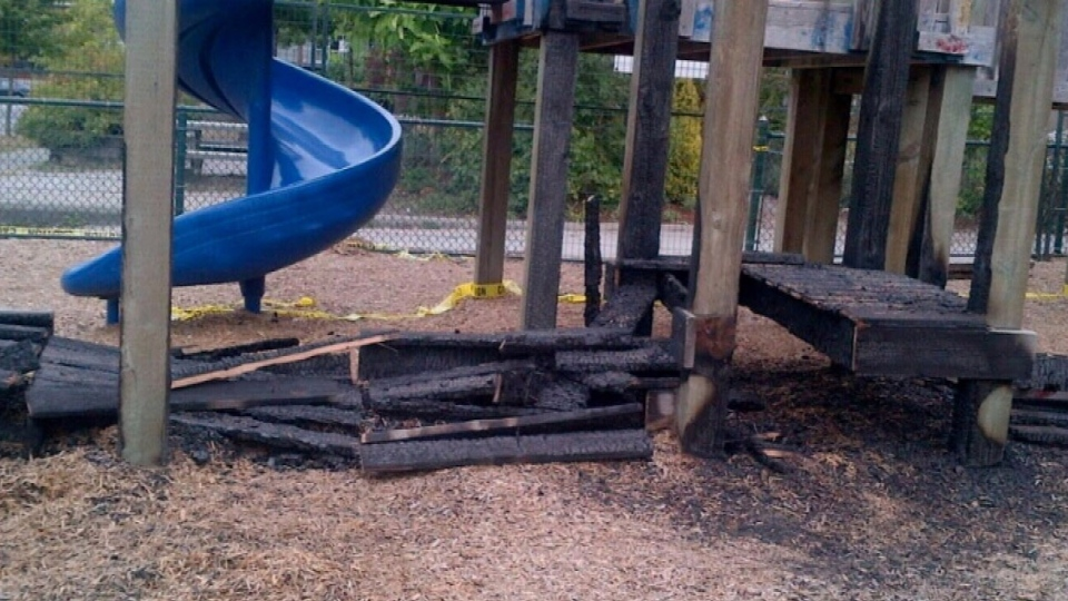 The playground at Richard McBride School in Vancouver was torched by vandals in September. Nov. 28, 2012. (CTV)