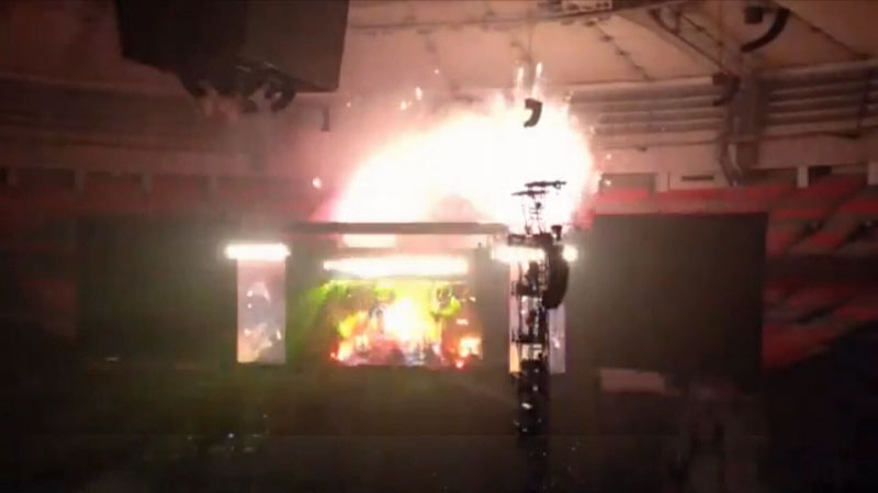 Pyrotechnics reach the roof of BC Place during Paul McCartney's Nov. 26 concert in Vancouver. (YouTube)