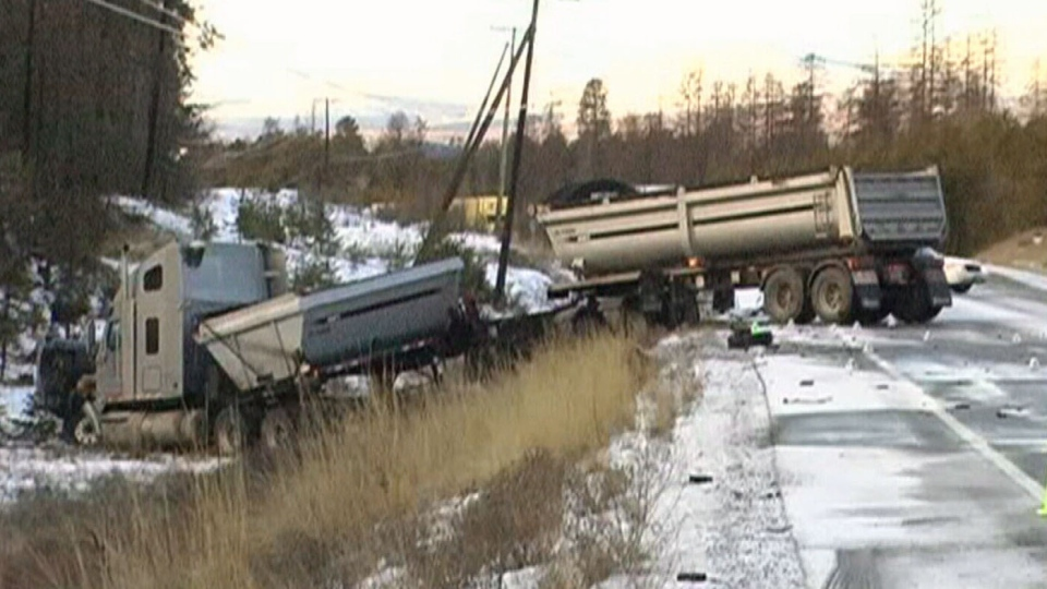 A woman was killed after the minivan she was in hit a semi truck on Dec. 5, 2012 near Cranbrook, B.C. (CTV)