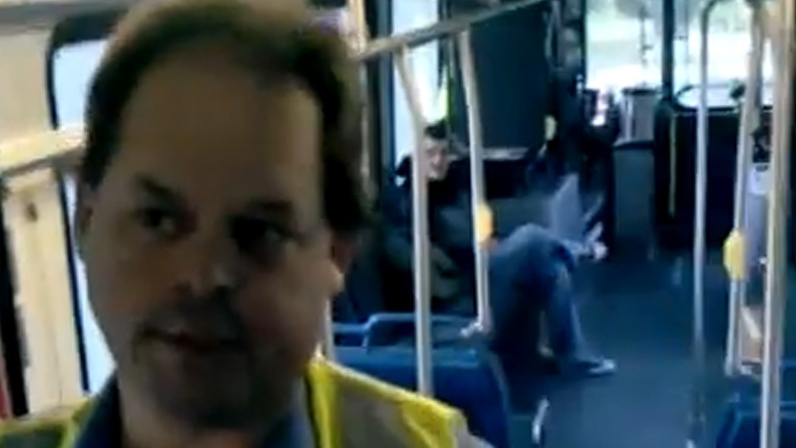 A Victoria bus driver has been accused of locking passengers on a bus after a YouTube video of the incident was posted online. Dec. 6, 2012. (YouTube)