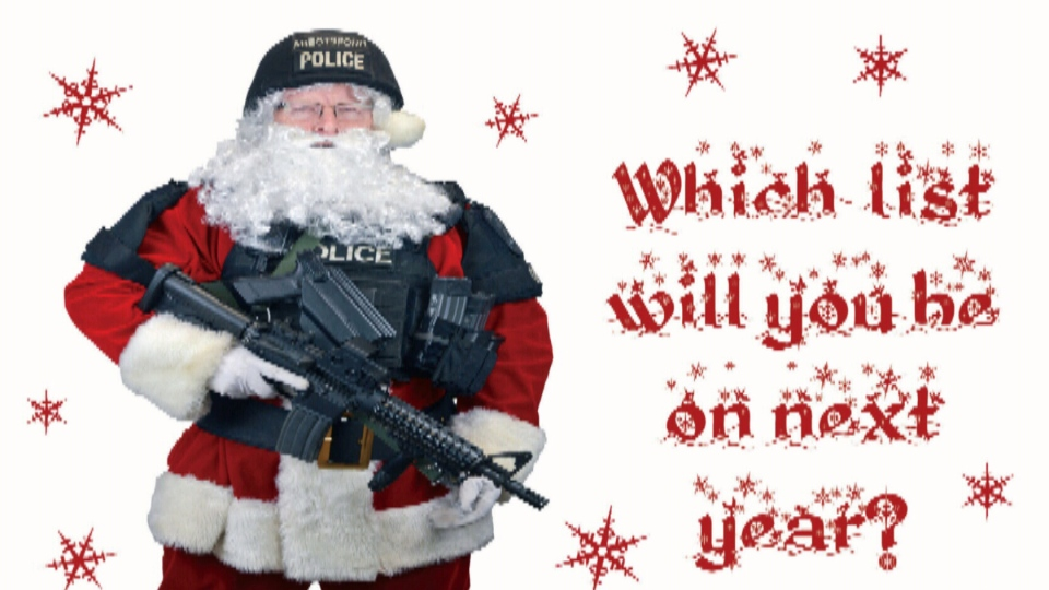 Abbotsford police are sending this Christmas card to criminals this holiday season. Dec. 10, 2012. (Handout)