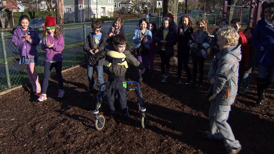 Eight-year-old Sydney Smallman would be able to play with his friends on the playground at Simon Fraser Elementary School if the wood chips were replaced with a rubber surface. Dec. 10, 2012. (CTV)