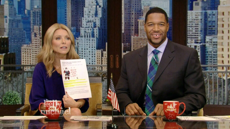 Kelly Ripa discusses Abbotsford's gun-toting Santa card for criminals on Live with Kelly and Michael. Dec. 11, 2012.