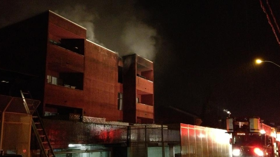 Dozens were evacuated from their homes after a fire broke out in a Maple Ridge apartment building on Dec. 13, 2012. (CTV)