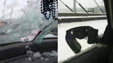 Ice on Port Mann Bridge