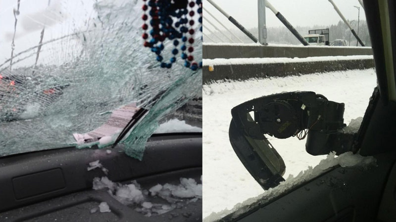 Pictures posted to Twitter Wednesday by users @shearbear4 and @jameslepp show damage allegedly caused by falling ice on the Port Mann Bridge. Dec. 19, 2012.