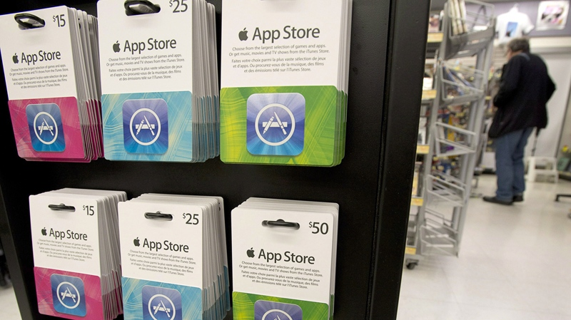 Gift cards are seen in a drug store in North Vancouver, B.C., Thursday, Nov. 15, 2012.