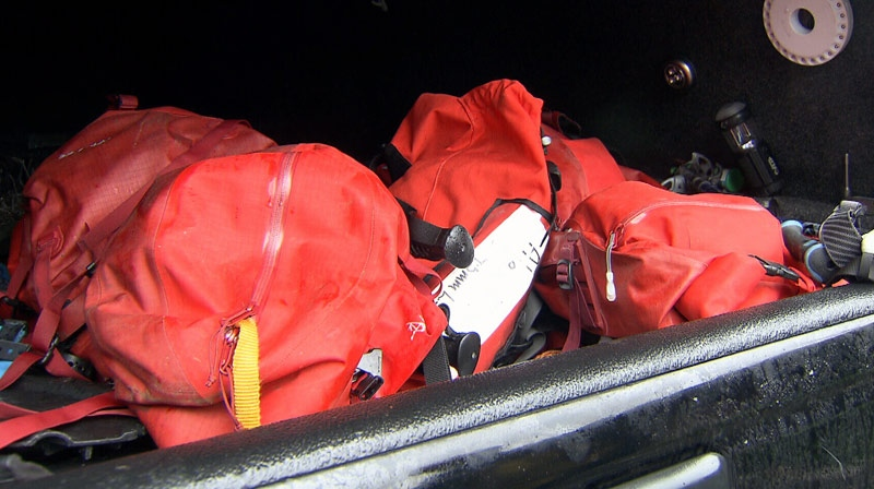 Packs, similar to the ones pictured here, were retrieved by North Shore Search and Rescue on Cypress Mountain on Saturday. December 22, 2012. (CTV)