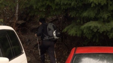A hiker is seen heading towards a closed off area.