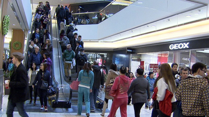 Shoppers hunt for bargains in Vancouver's Pacific Centre on Boxing Day. Dec. 26, 2012. (CTV)
