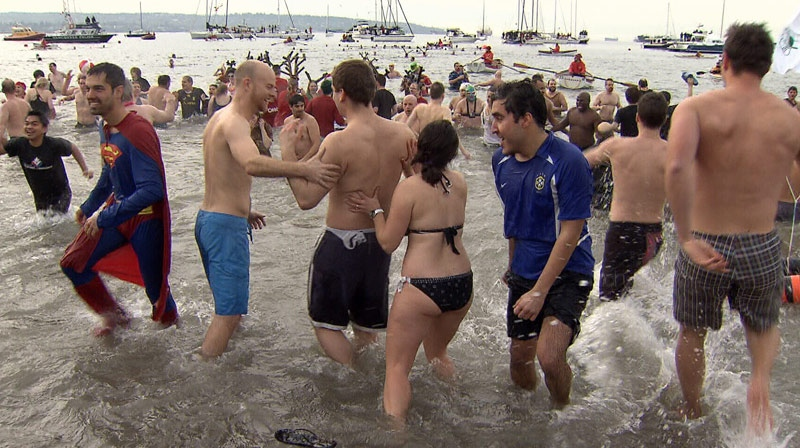More than 2,000 people participated in Vancouver's annual polar bear swim on New Year's Day. January 2, 2013. (CTV)