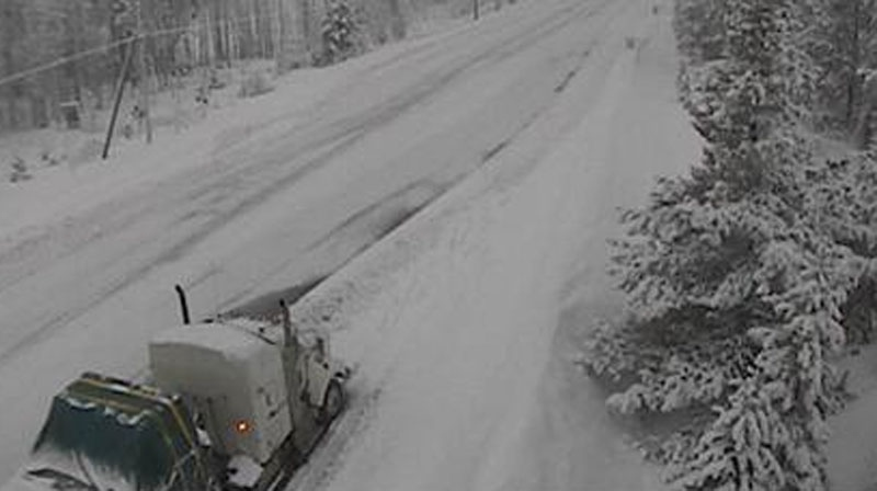 A view of Highway 3 south of Princeton in B.C. on Wednesday, Jan. 9, 2013. The highway was closed to traffic because of heavy snow. (DriveBC)