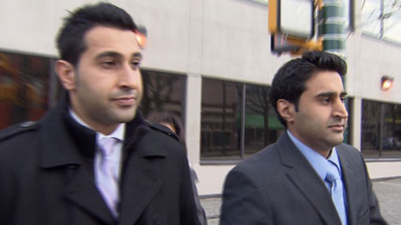Ravinder Robbie Bassi, left, and Parminder Singh Peter Bassi leave Vancouver provincial court, March 20, 2012. (CTV)