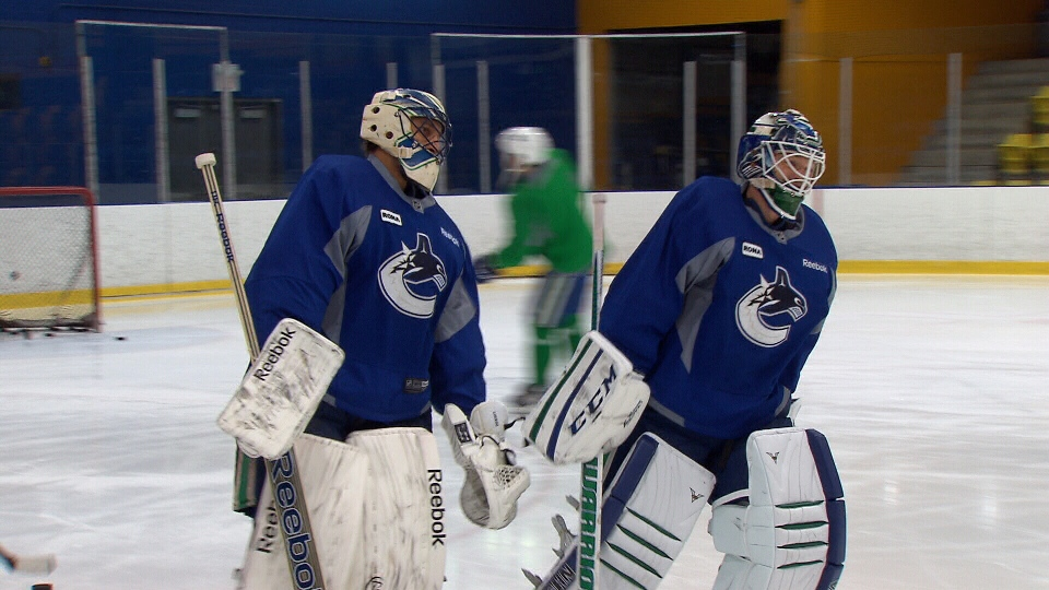 Canucks goalies Roberto Luongo and Cory Schneider skate at a practice session. (CTV)