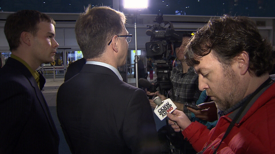 NDP leader Adrian Dix speaks to media upon his return from meetings in Hollywood about the B.C. film industry on Jan. 24, 2013. (CTV)