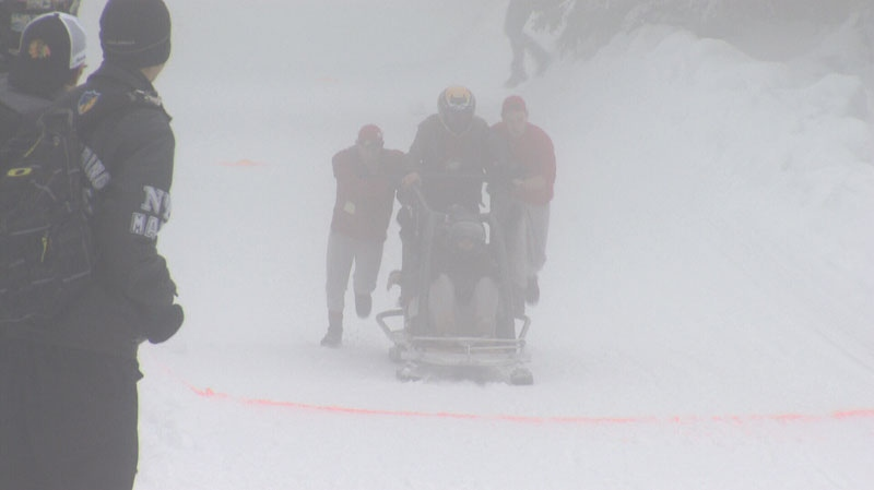 Student engineers near the finish line in the Great Northern Concrete Toboggan Race, Friday, Jan. 25. (CTV)