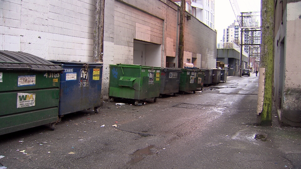 Police say the victim was dragged into an alley behind the 900-block of Granville Street. (CTV)