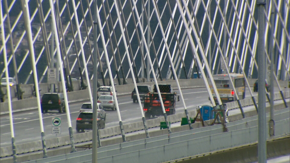 Some TReO users who own businesses say they didn't receive the trip credits they had expected for taking the Port Mann Bridge. Feb. 1, 2013. (CTV)