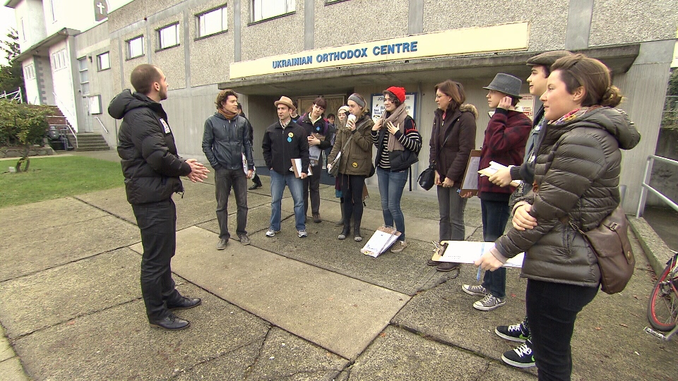 Dogwood Initiative volunteers gather Saturday prior to going door-to-door with a petition against pipeline expansion in B.C. (CTV)