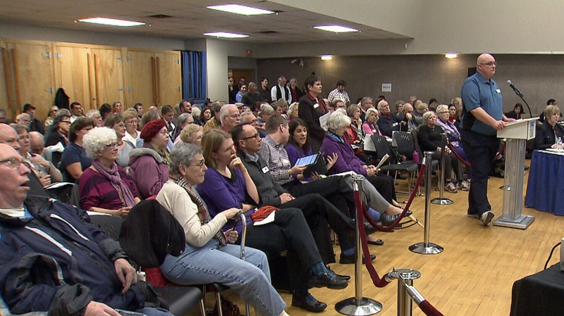 Hundreds of people packed a community meeting on Feb. 4, 2013, to voice their opposition to a Vancouver Park Board plan to centralize funding at community centres.