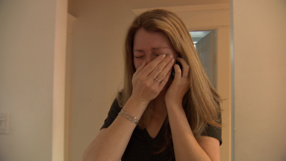 Amy Vilis reacts to news that her dogs and truck were found on a tree farm in Agassiz, about a 90-minute drive east of Vancouver.