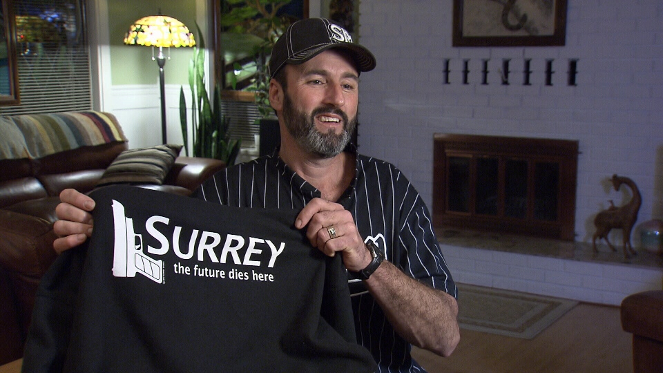 Don Pitcairn of SurreyShirts.com insists he's sending an important anti-gang message with his line of parody T-shirts. Feb. 6, 2013. (CTV)