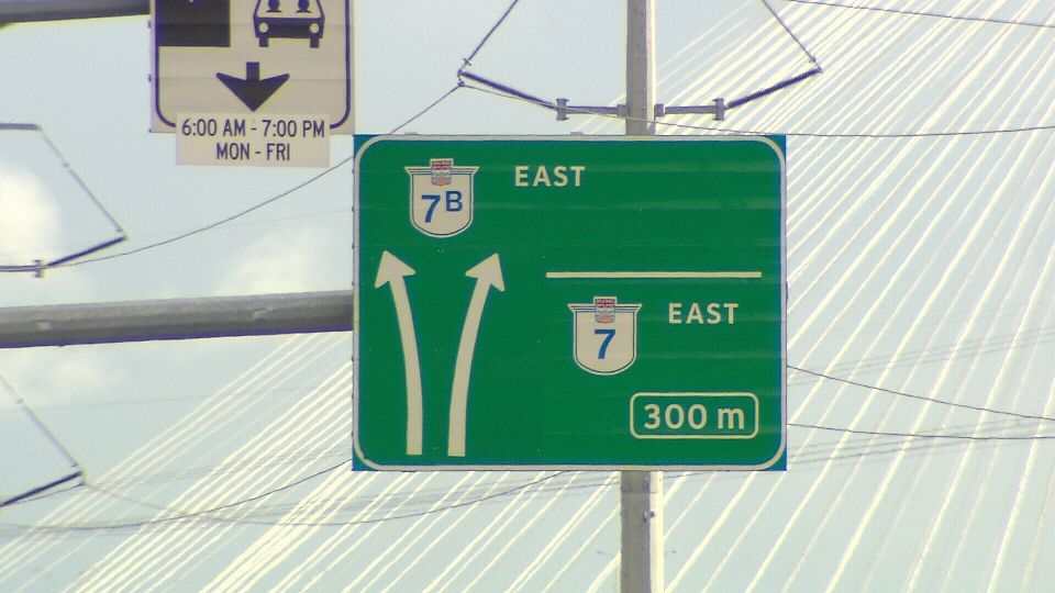 The City of Coquitlam says signs like these -- no names, just numbers -- are confusing drivers on Highway 1. (CTV)
