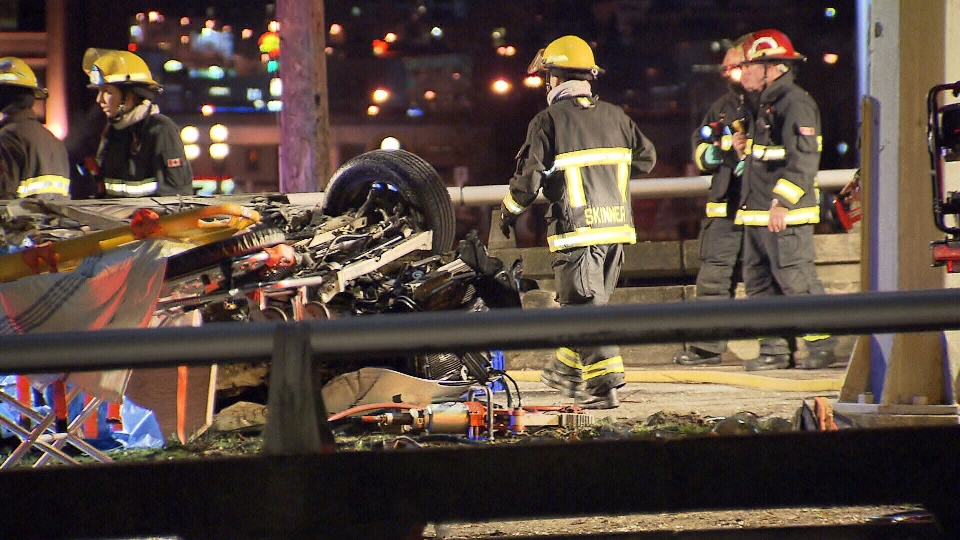 Police investigate a fatal crash on the Dunsmuir Viaduct early Feb. 8, 2013. (CTV)