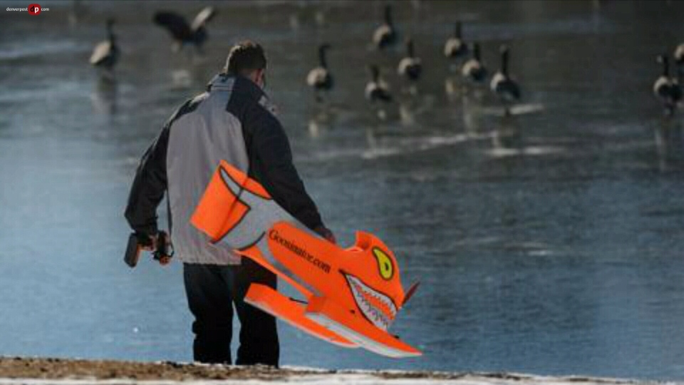 """The Goosinator"" inventor Randy Claussen about to put his goose-chasing machine into action. (Denver Post)"