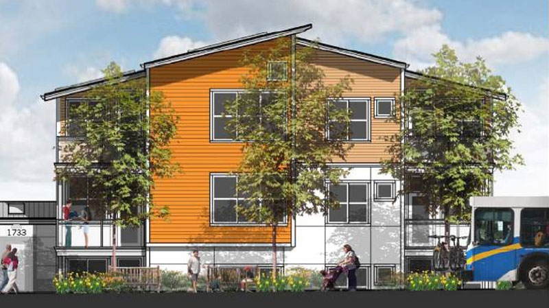 A proposed Vancouver co-housing project, seen in this artist's rendering, is being considered by city council on Tuesday, Feb. 12, 2013. (City Hall)