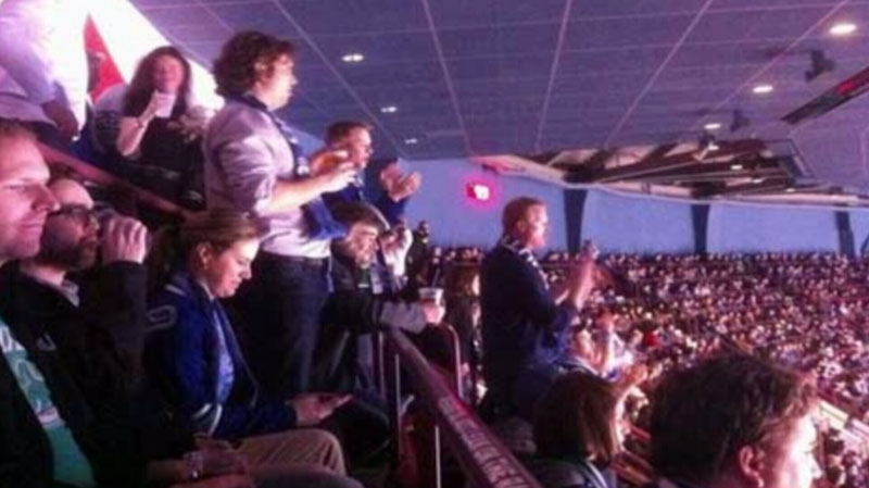 Two fans were ejected from the Canucks game at Rogers Arena Tuesday for standing up. Feb. 12, 2013. (Twitter user Duncan Nicol)