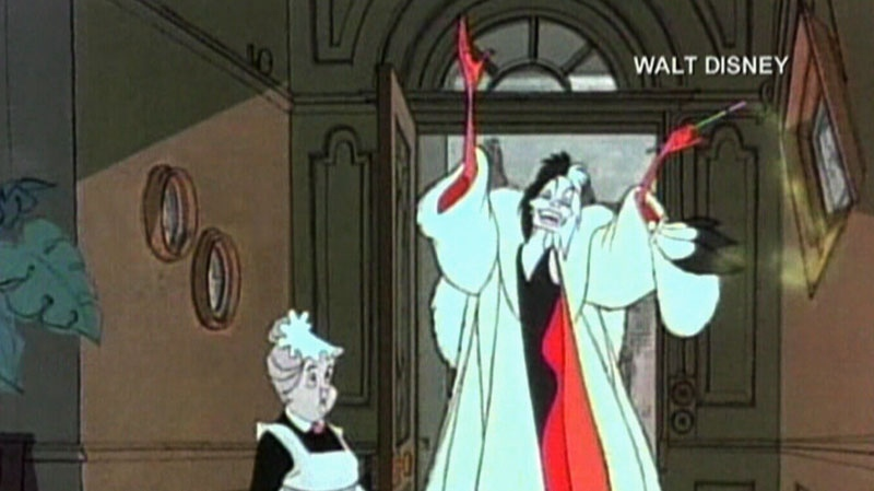 Cruella de Vil is seen smoking in this image from Disney's 101 Dalmations.
