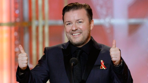 Host Ricky Gervais gestures on stage during the 67th Annual Golden Globe Awards in Los Angeles on Jan. 17, 2010. (AP / NBC, Paul Drinkwater)