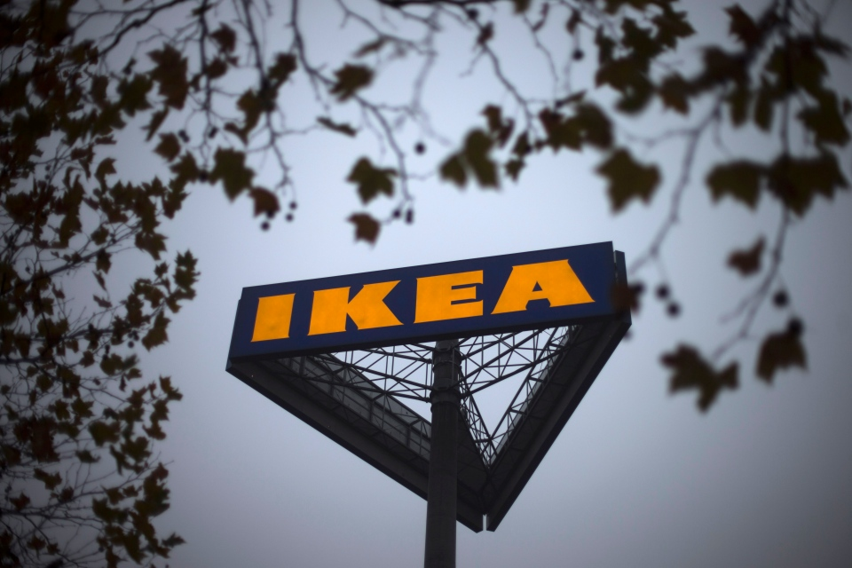 A sign bearing the Ikea logo is seen outside a store in Berlin on Nov. 16, 2012.  (AP / Markus Schreiber)
