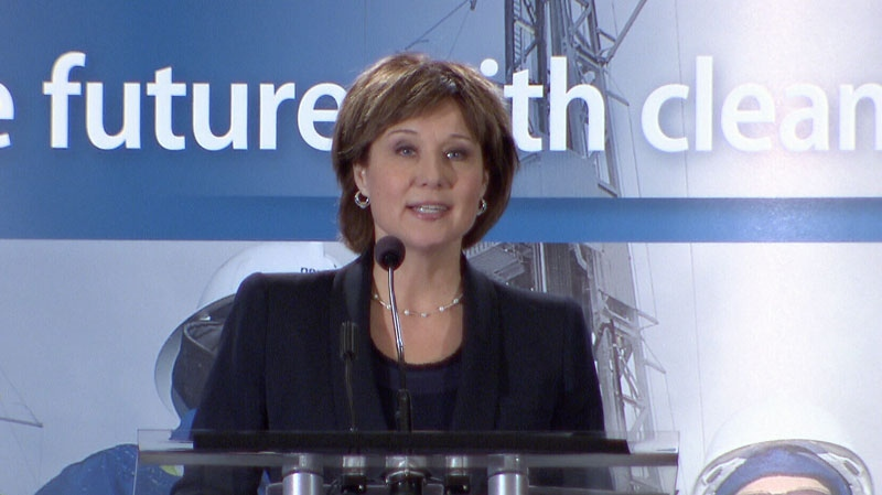 B.C. Premier Christy Clark announces a $32 million benefits agreement with a group of 15 First Nations at an international conference on liquefied natural gas in the province. Feb. 25, 2013. (CTV)
