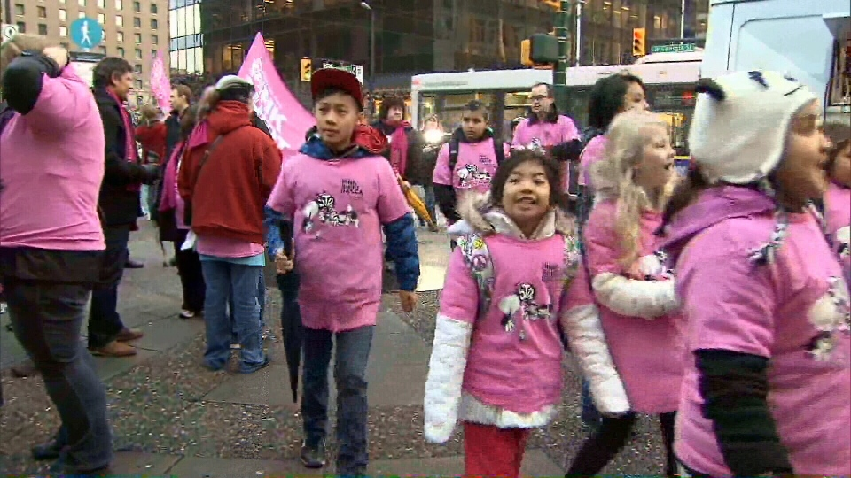 Students don pink shirts in honour of Pink Shirt Day on Feb. 27, 2013.