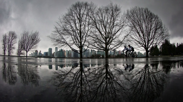 Cyclists ride through Stanley Park as rain falls in Vancouver, B.C., on Sunday January 6, 2013. THE CANADIAN PRESS/Darryl Dyck