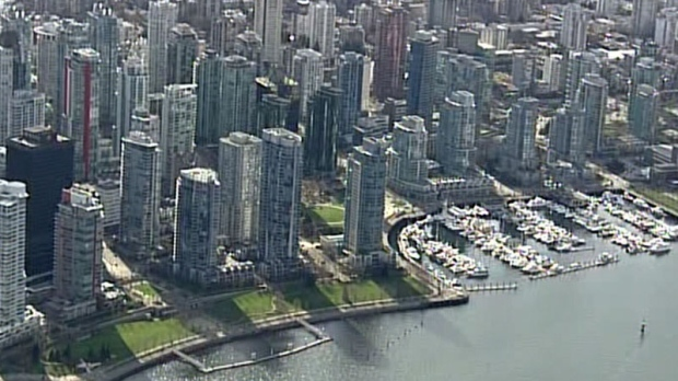 Almost a quarter of the condos in Vancouver's Coal Harbour neighbourhood are either vacant or occupied by non-residents, according to a UBC planning professor. March 21, 2013. (CTV/Chopper 9)